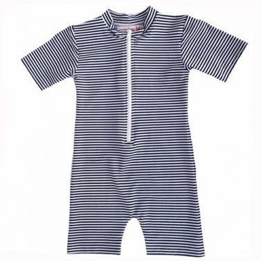 Petit Crabe pencil stripe blue and white Natsu sunsuit for kids, sun protective clothing