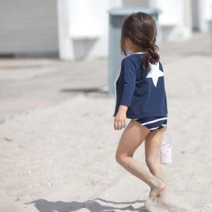 Petit Crabe blue Etoile star Zipper rash guard for kids, girl with striped bikini buttoms