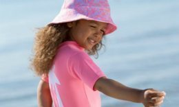 Petit Crabe Pink Palm Sunsuit And Frey Sunhat For Girls