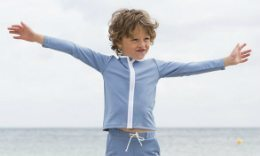 Boy In Petit Crabe Rash Guards, Sun Protective Clothing