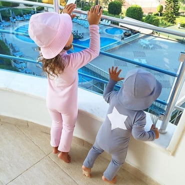 Instagram Petit Crabe, Lou STAR UV sun protective sunsuit long sleeves for Kids, baby boy and girl